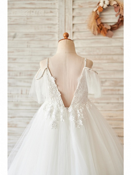Princess / Ball Gown Floor Length Wedding / Birthday Flower Girl Dresses - Lace / Tulle Sleeveless V Neck With Bow(S) / Beading / Appliques_4