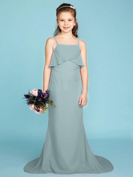 Sheath / Column Spaghetti Strap Sweep / Brush Train Chiffon Junior Bridesmaid Dress With Tiered / Wedding Party / Open Back_12