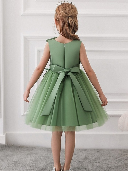 Princess / Ball Gown Knee Length Wedding / Party Flower Girl Dresses - Satin / Tulle Sleeveless Jewel Neck With Bow(S) / Appliques_6