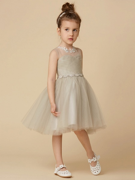 Princess Knee Length Pageant Flower Girl Dresses - Satin Sleeveless Scoop Neck With Sash / Ribbon / Criss Cross / Appliques_5