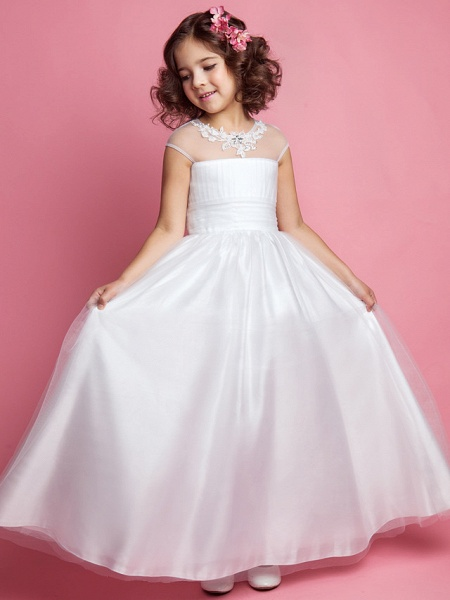 Princess / A-Line Floor Length Wedding / First Communion Tulle Sleeveless Jewel Neck With Ruched / Beading / Appliques_1