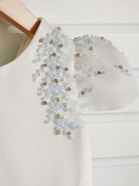 Princess Tea Length Wedding / Birthday / Pageant Flower Girl Dresses - Satin / Tulle Cap Sleeve Jewel Neck With Beading_7
