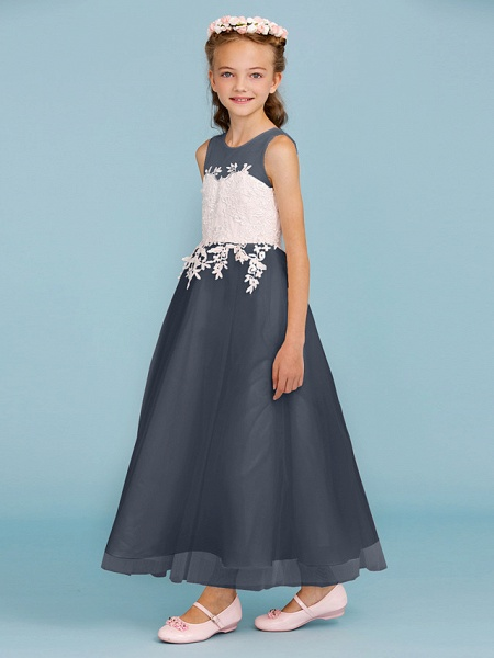 Princess / A-Line Jewel Neck Ankle Length Lace / Tulle Junior Bridesmaid Dress With Sash / Ribbon / Appliques / Wedding Party / Open Back_47