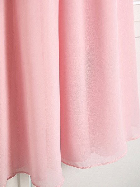A-Line High Neck Floor Length Chiffon Junior Bridesmaid Dress With Ruffles / Ruching_8