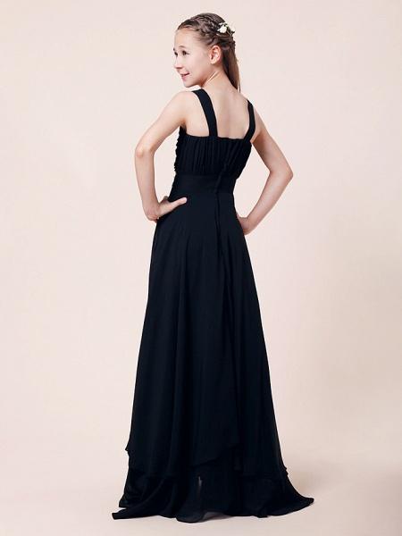 Sheath / Column Straps Floor Length Chiffon Junior Bridesmaid Dress With Beading / Draping / Empire / Spring / Summer / Fall / Winter_7