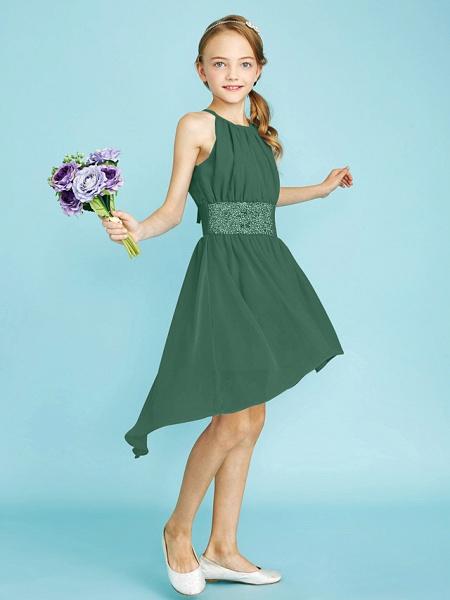 Sheath / Column Jewel Neck Asymmetrical Chiffon Junior Bridesmaid Dress With Sequin / Natural_45