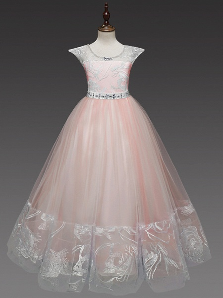 Princess Long Length Wedding / Party / First Communion Flower Girl Dresses - Lace / Tulle Cap Sleeve Jewel Neck With Belt / Crystals / Crystals / Rhinestones_5