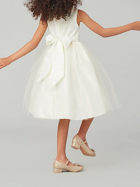 A-Line Knee Length Wedding / Party Flower Girl Dresses - Satin / Taffeta / Tulle Sleeveless Jewel Neck With Bow(S) / Solid_3
