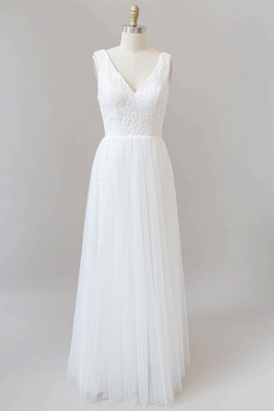 SD1961 Straps V-neck A-line Open Back Wedding Dress