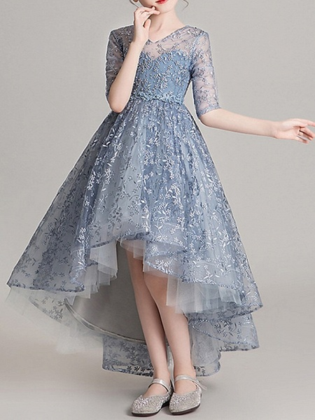 Ball Gown Asymmetrical Pageant Flower Girl Dresses - Polyester Half Sleeve Jewel Neck With Appliques_5