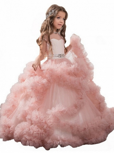 Ball Gown Sweep / Brush Train Wedding / Party Flower Girl Dresses - Tulle Sleeveless Jewel Neck With Solid / Tiered_3