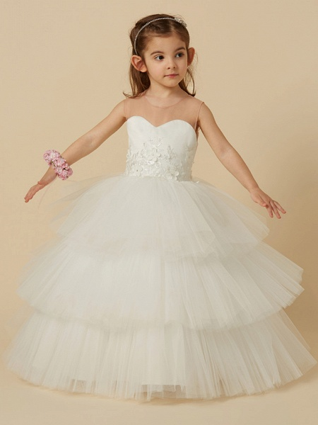 Ball Gown Floor Length Wedding / First Communion Flower Girl Dresses - Satin / Tulle Sleeveless Illusion Neck With Buttons / Flower_5