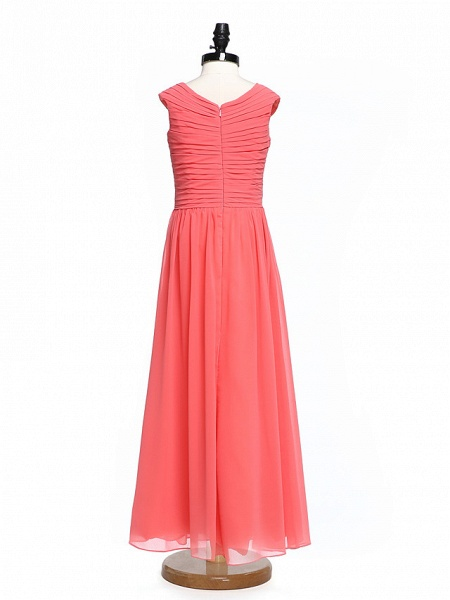A-Line V Neck Floor Length Chiffon Junior Bridesmaid Dress With Criss Cross / Ruched / Natural_2