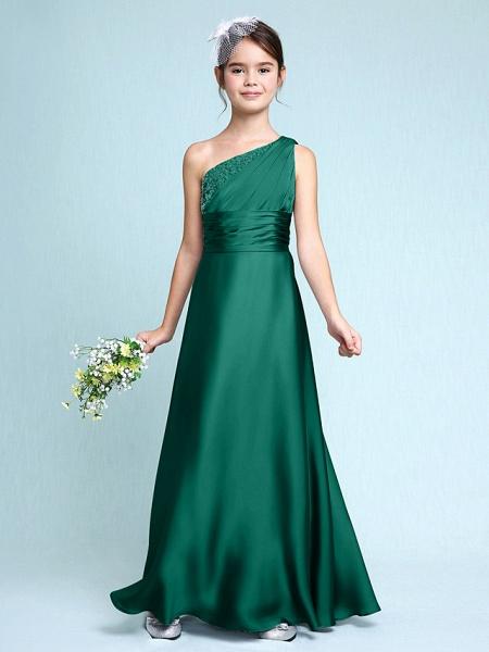 Sheath / Column One Shoulder Floor Length Chiffon Satin Junior Bridesmaid Dress With Ruched / Side Draping / Natural_27