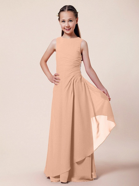 A-Line / Sheath / Column Bateau Neck Floor Length Chiffon Junior Bridesmaid Dress With Beading / Side Draping / Spring / Summer / Fall / Winter / Wedding Party_8
