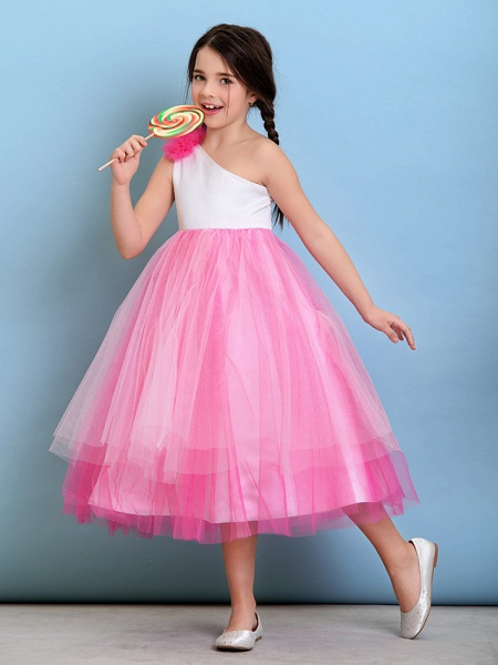 Ball Gown One Shoulder Tea Length Tulle Junior Bridesmaid Dress With Flower / Natural_2