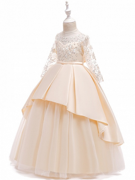 Princess Floor Length Wedding / Party / Pageant Flower Girl Dresses - Lace / Satin / Tulle Long Sleeve Jewel Neck With Lace / Belt / Crystals_4