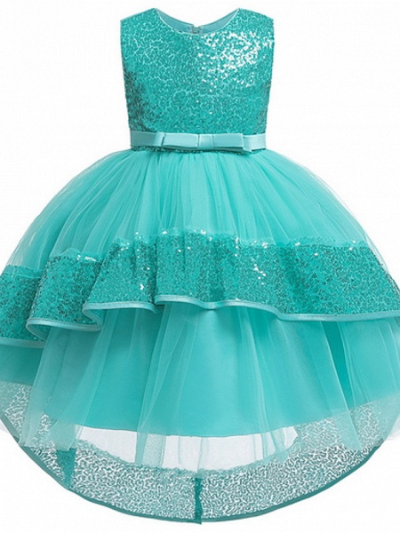 Ball Gown Ankle Length Pageant Flower Girl Dresses - Polyester Sleeveless Jewel Neck With Bow(S) / Appliques_5