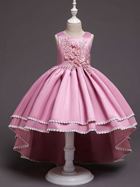 A-Line Asymmetrical Wedding / Party Flower Girl Dresses - Satin Chiffon Sleeveless Jewel Neck With Bow(S) / Appliques_5