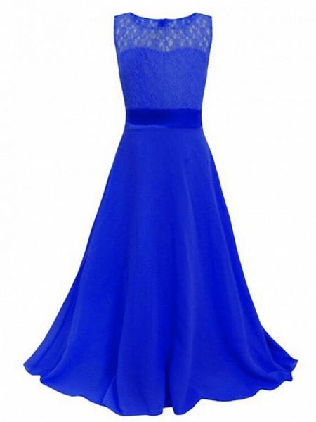 A-Line Floor Length Wedding / Party Flower Girl Dresses - Chiffon / Lace Sleeveless Jewel Neck With Sash / Ribbon_14