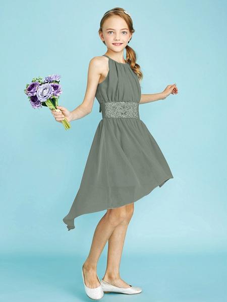 Sheath / Column Jewel Neck Asymmetrical Chiffon Junior Bridesmaid Dress With Sequin / Natural_36