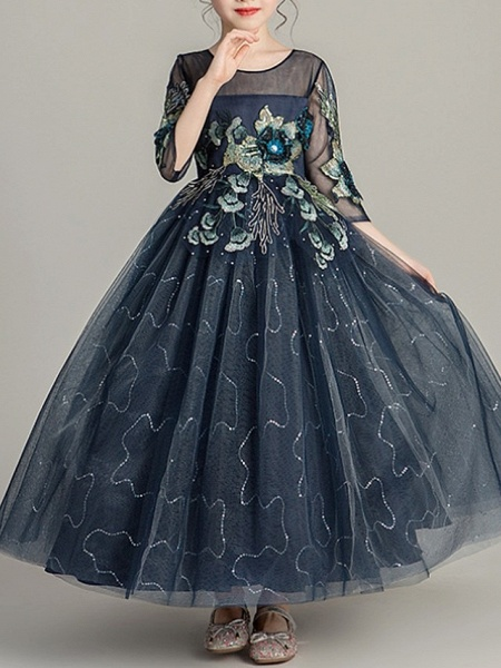 Ball Gown Ankle Length Pageant Flower Girl Dresses - Polyester Half Sleeve Jewel Neck With Bow(S)_3
