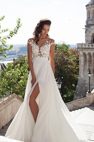 Chiffon Lace Appliques Sleeveless Boho Wedding Dress_9