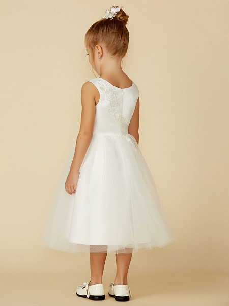 A-Line Tea Length Wedding / First Communion Flower Girl Dresses - Lace / Tulle Sleeveless Jewel Neck With Lace_2