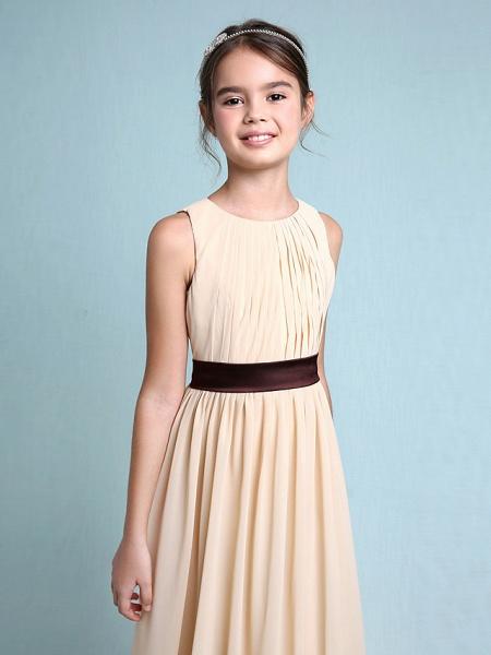 Sheath / Column Scoop Neck Floor Length Chiffon Junior Bridesmaid Dress With Draping / Natural_7