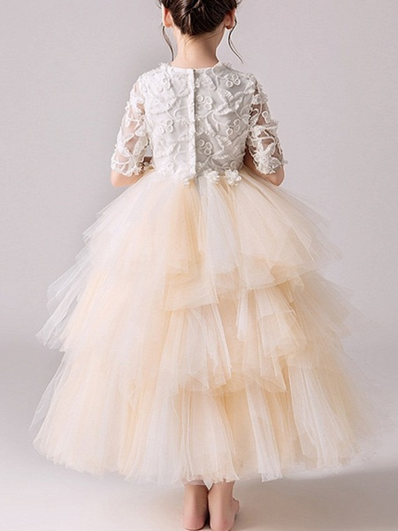 Ball Gown Ankle Length Pageant Flower Girl Dresses - Tulle Half Sleeve Jewel Neck With Tier / Appliques_4