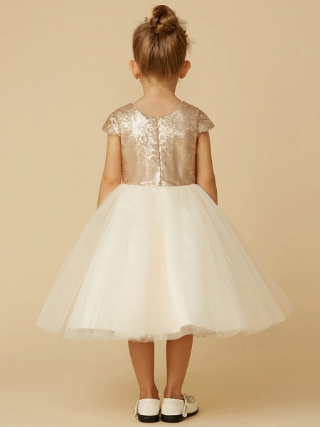 Princess Tea Length Pageant Flower Girl Dresses - Tulle / Sequined Short Sleeve Jewel Neck With Sash / Ribbon / Bow(S) / Sequin_5