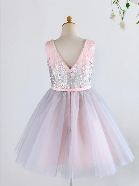 Ball Gown Knee Length Wedding / Birthday / Pageant Flower Girl Dresses - Tulle / Sequined Sleeveless V Neck With Belt_2