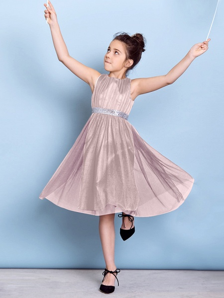 A-Line Jewel Neck Knee Length Tulle Junior Bridesmaid Dress With Sash / Ribbon / Sequin / Draping / Natural_19