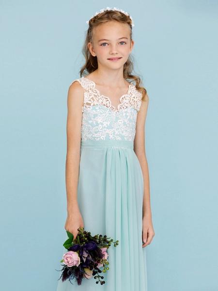 Sheath / Column V Neck Floor Length Chiffon / Lace Junior Bridesmaid Dress With Sash / Ribbon / Pleats / Color Block / Wedding Party / Open Back_5