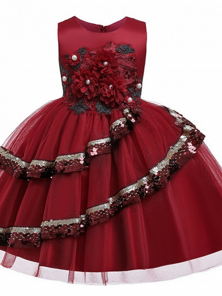 Ball Gown Knee Length Party / Pageant Flower Girl Dresses - Lace / Tulle Sleeveless Jewel Neck With Tier / Paillette_2