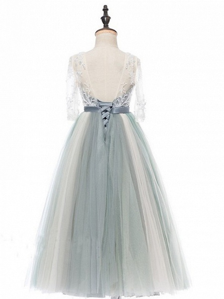 Princess / A-Line Floor Length Wedding / Party Flower Girl Dresses - Lace / Tulle Half Sleeve Jewel Neck With Bows / Paillette_7