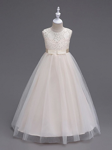 Princess Long Length Wedding / First Communion Flower Girl Dresses - Lace / Tulle Sleeveless Jewel Neck With Lace / Bow(S) / Embroidery_13