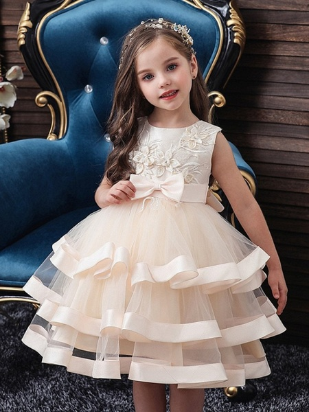 Princess / Ball Gown Knee Length Wedding / Party Flower Girl Dresses - Tulle Sleeveless Jewel Neck With Sash / Ribbon / Bow(S) / Tier_2
