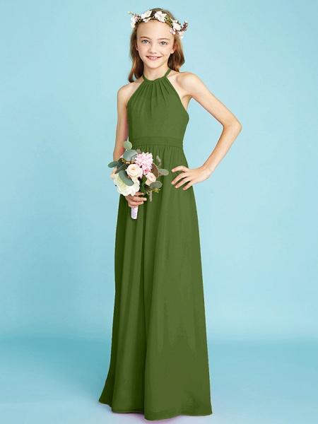 A-Line Halter Neck Floor Length Chiffon Junior Bridesmaid Dress With Sash / Ribbon / Natural_41