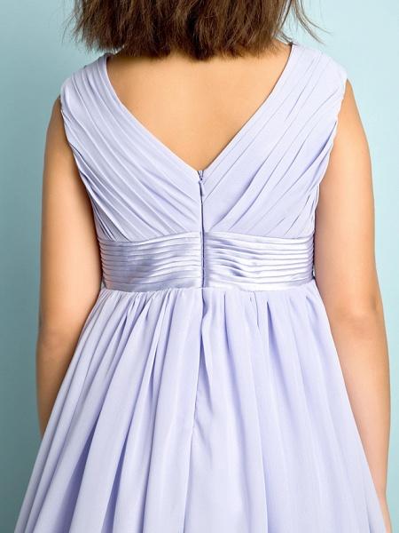 A-Line V Neck Knee Length Chiffon Junior Bridesmaid Dress With Bow(S) / Criss Cross / Natural_8