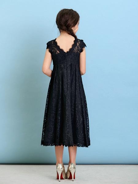 Princess / A-Line Jewel Neck Tea Length Lace Junior Bridesmaid Dress With Pleats / Natural_8