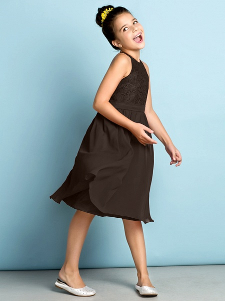 A-Line Jewel Neck Knee Length Chiffon / Lace Junior Bridesmaid Dress With Lace / Natural / Mini Me_34