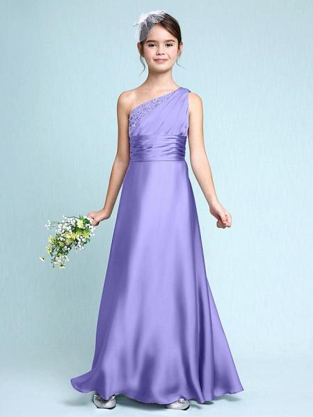 Sheath / Column One Shoulder Floor Length Chiffon Satin Junior Bridesmaid Dress With Ruched / Side Draping / Natural_39