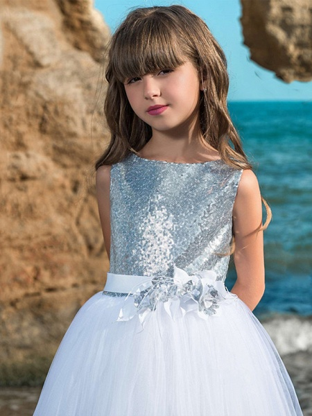 Ball Gown Maxi Wedding / Birthday / Pageant Flower Girl Dresses - Tulle Sleeveless Boat Neck With Belt / Crystals / Rhinestones / Paillette_2