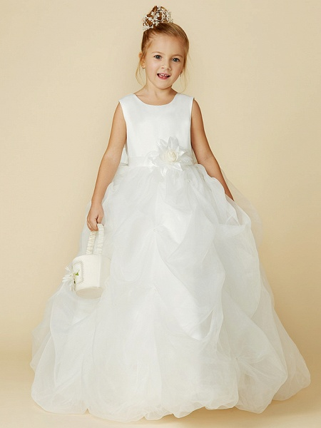 Ball Gown Floor Length Wedding / First Communion Flower Girl Dresses - Organza / Satin Sleeveless Jewel Neck With Sash / Ribbon / Bow(S) / Flower_6