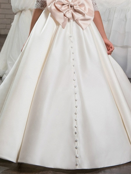 Ball Gown Sweep / Brush Train Wedding / Birthday / Pageant Flower Girl Dresses - Lace / Satin Half Sleeve V Neck With Beading / Appliques / Crystals / Rhinestones_3