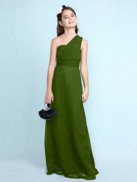 Sheath / Column One Shoulder Floor Length Chiffon Junior Bridesmaid Dress With Side Draping / Natural_43
