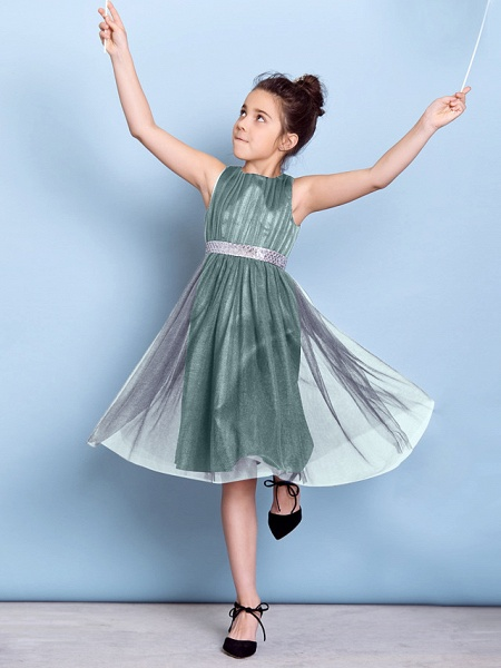 A-Line Jewel Neck Knee Length Tulle Junior Bridesmaid Dress With Sash / Ribbon / Sequin / Draping / Natural_13