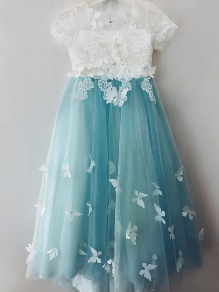 Ball Gown Sweep / Brush Train Wedding / Birthday / Pageant Flower Girl Dresses - Tulle / Cotton Short Sleeve Jewel Neck With Lace / Embroidery / Appliques_5