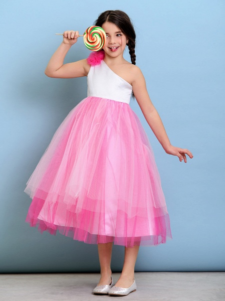Ball Gown One Shoulder Tea Length Tulle Junior Bridesmaid Dress With Flower / Natural_3